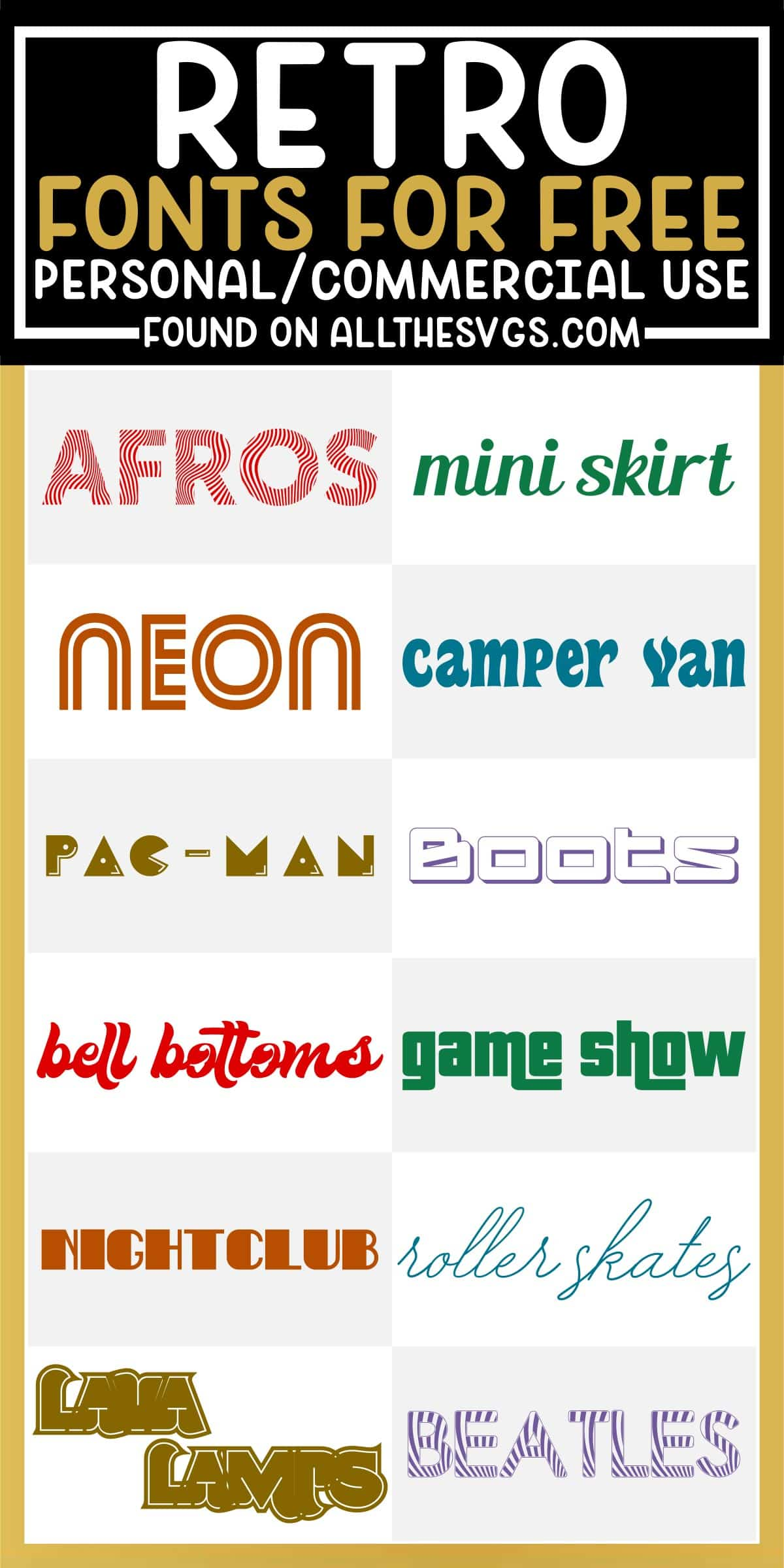 showcase of 12 best free retro fonts for commercial use.