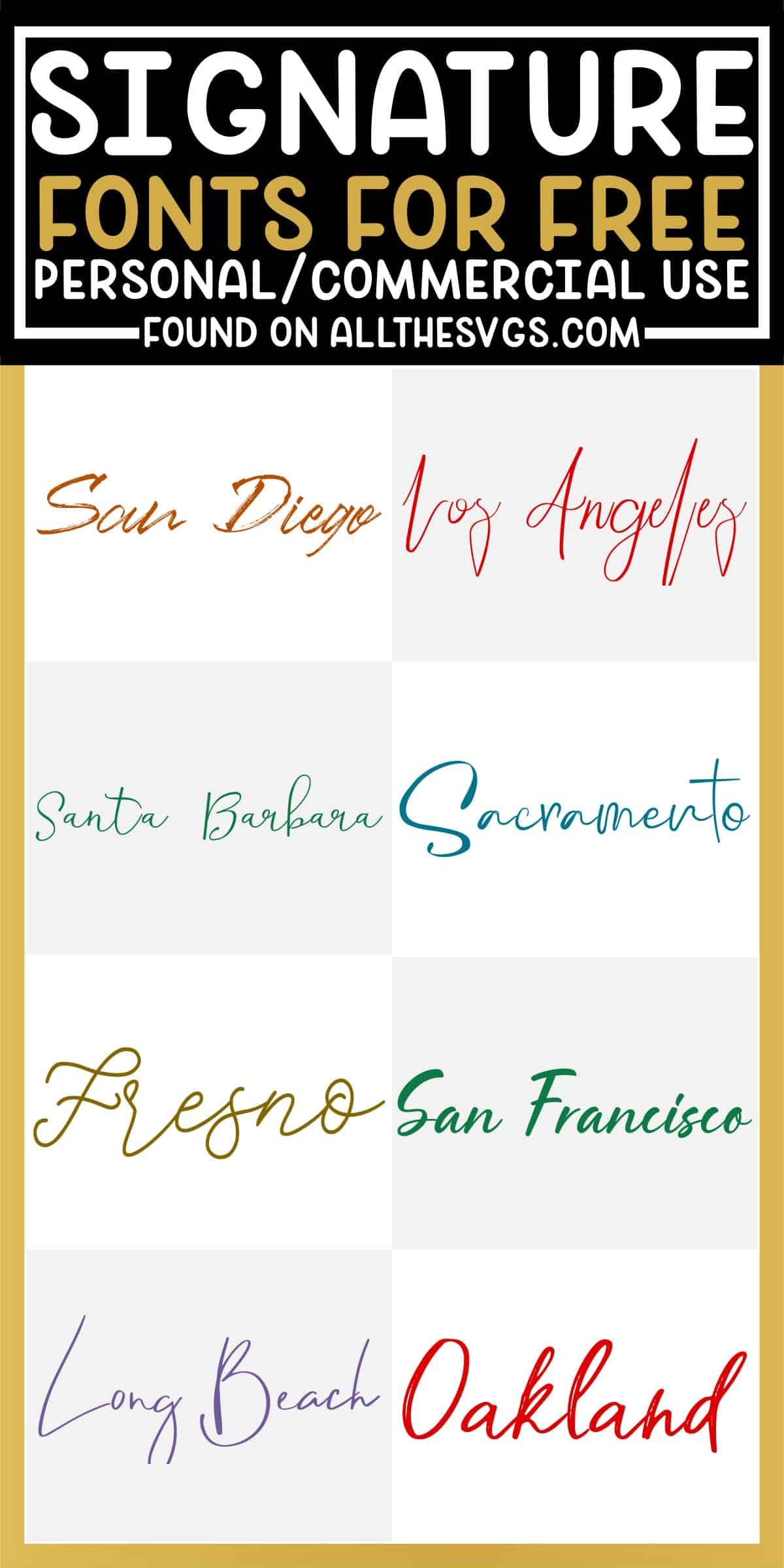 showcase of 8 best free signature fonts for commercial use.