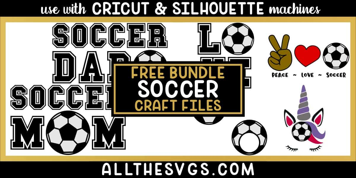 soccer svg png bundle with monogram, peace, love, unicorn, mom, dad designs.