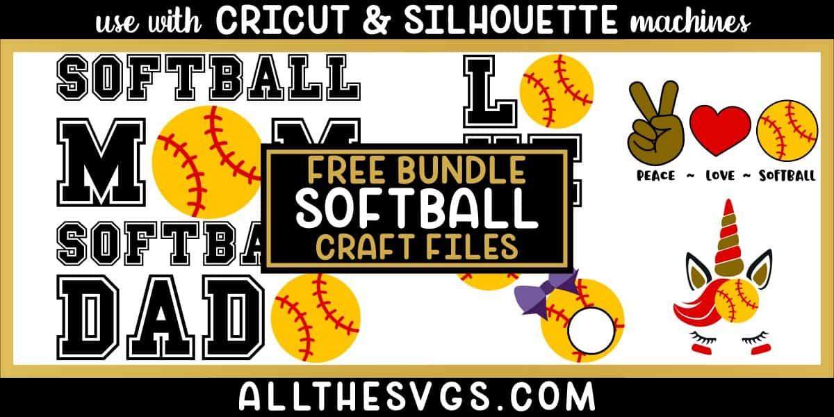 softball svg png bundle with monogram, peace, love, unicorn, mom, dad designs.