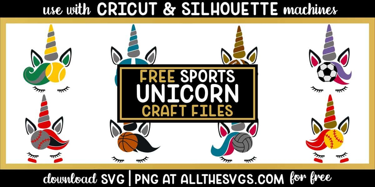 unicorn face with sports ball svg png with striped horn, cool hair, pointed ears, closed eyelashes.
