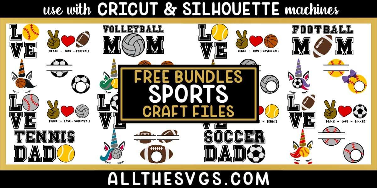 sports svg png bundle with monogram, peace, love, unicorn, mom, dad designs.