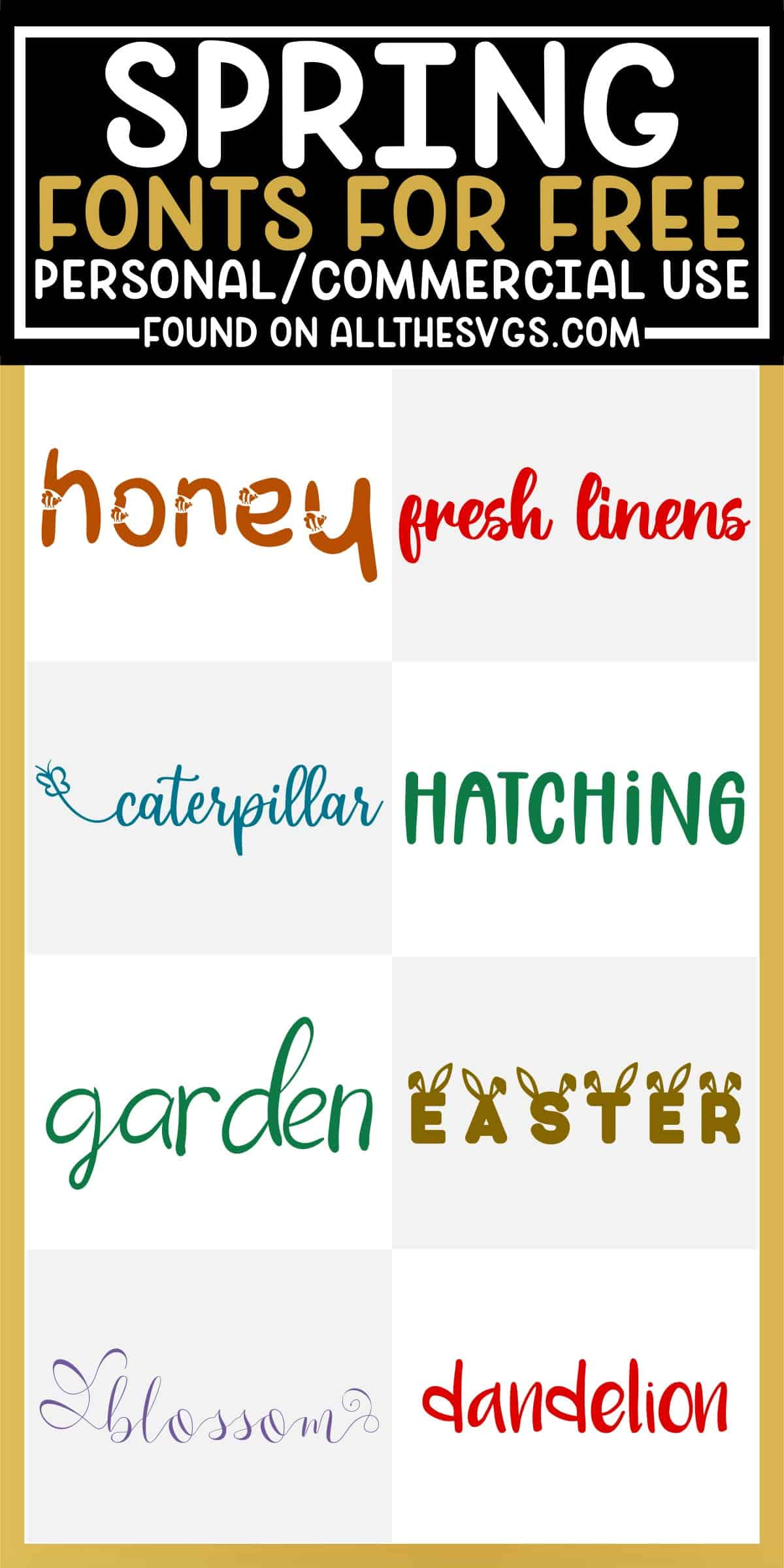 showcase of 8 best free spring fonts for commercial use.