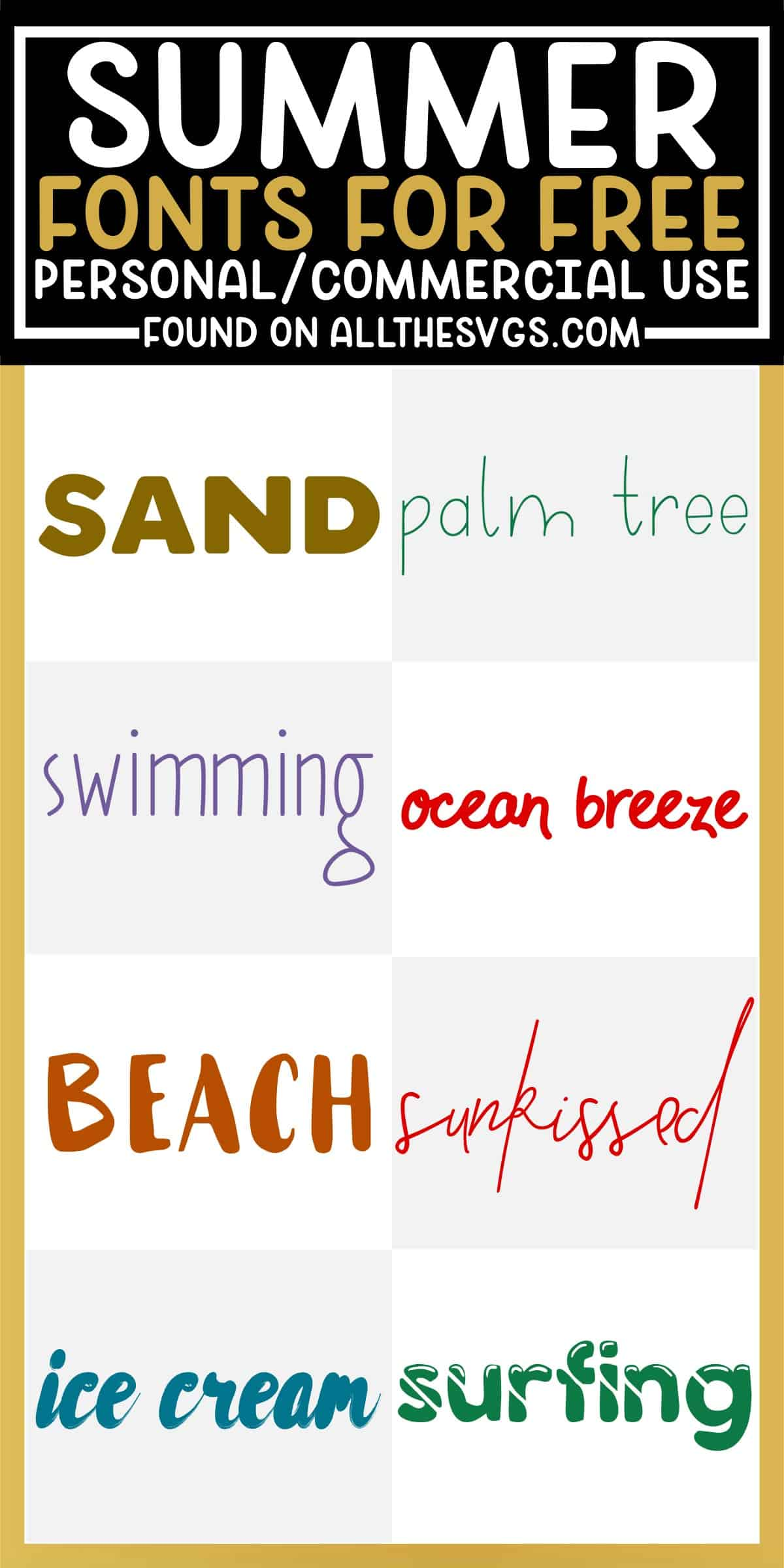 showcase of 8 best free summer fonts for commercial use.