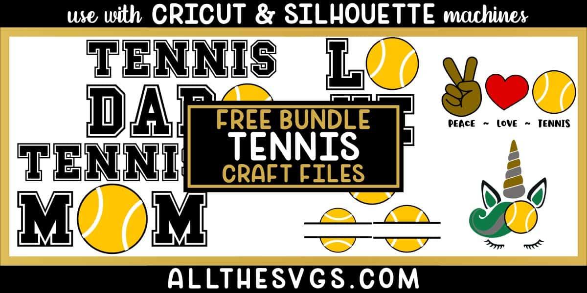 tennis svg png bundle with monogram, peace, love, unicorn, mom, dad designs.