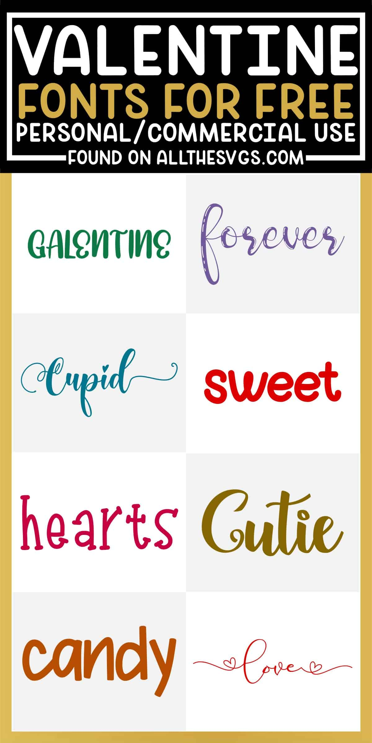 showcase of 8 best free valentine's day fonts for commercial use.
