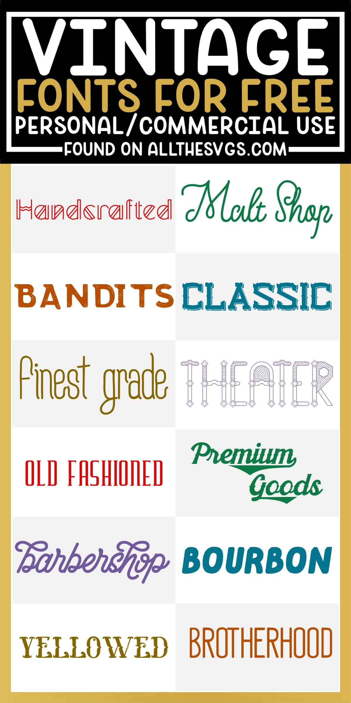 showcase of 12 best free vintage fonts for commercial use.