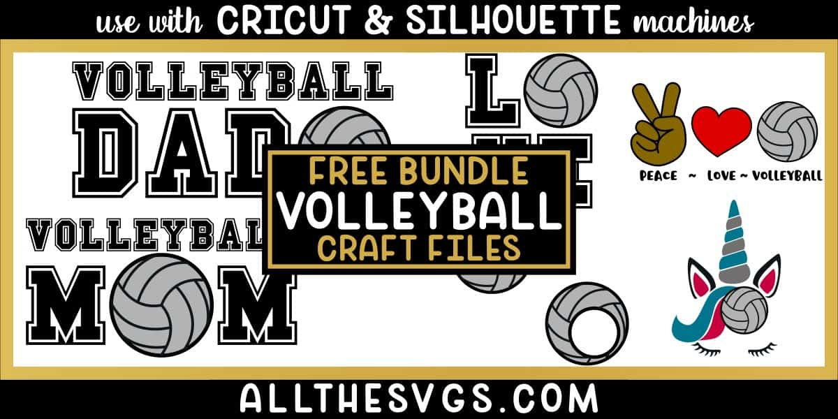 volleyball svg png bundle with monogram, peace, love, unicorn, mom, dad designs.