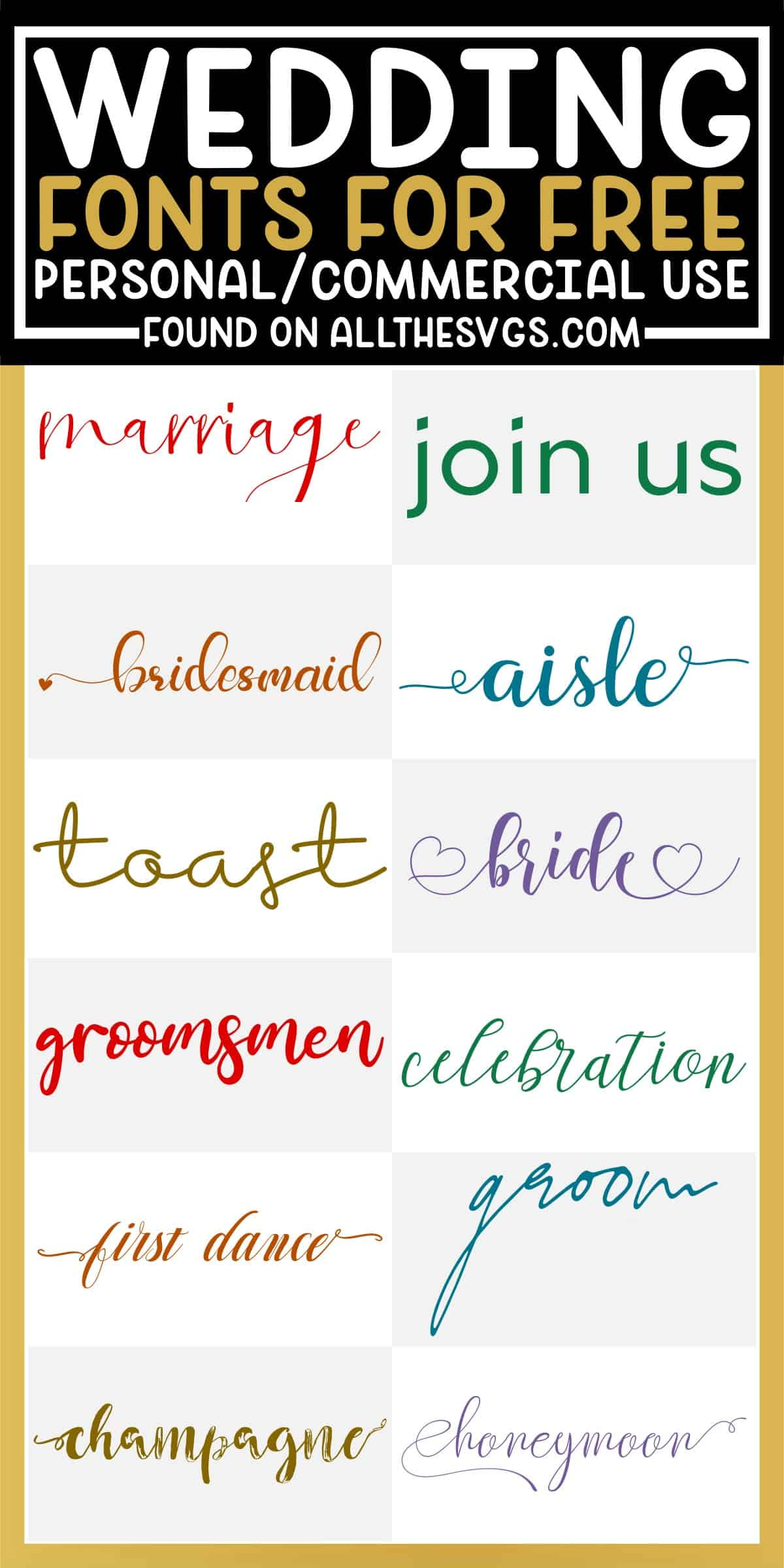 showcase of 12 best free wedding fonts for commercial use.