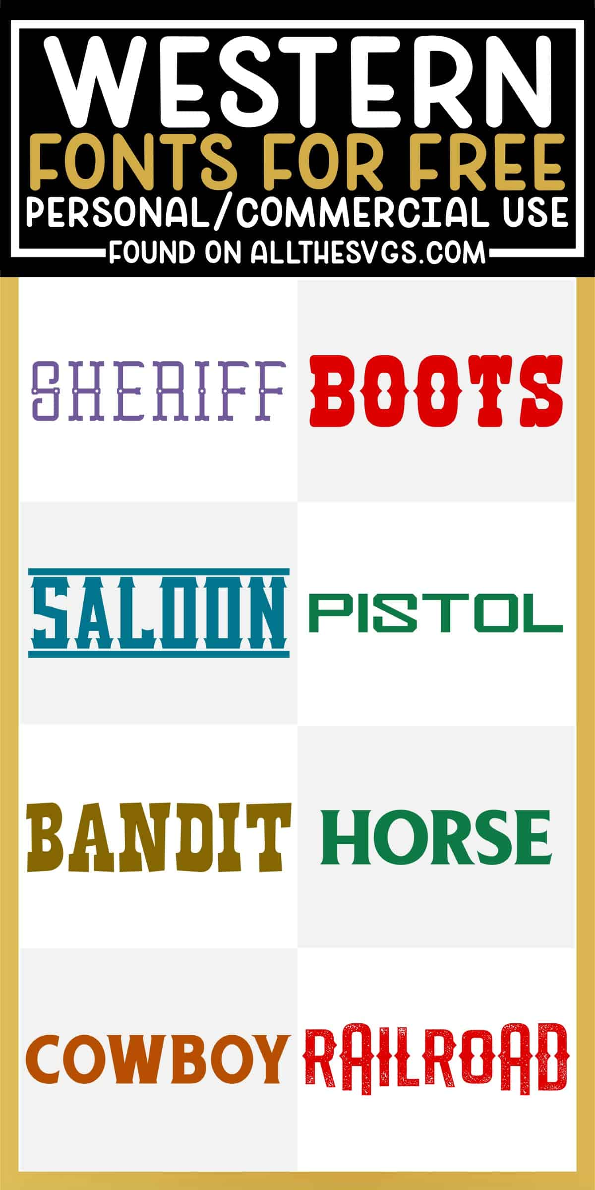 showcase of 8 best free western fonts for commercial use.