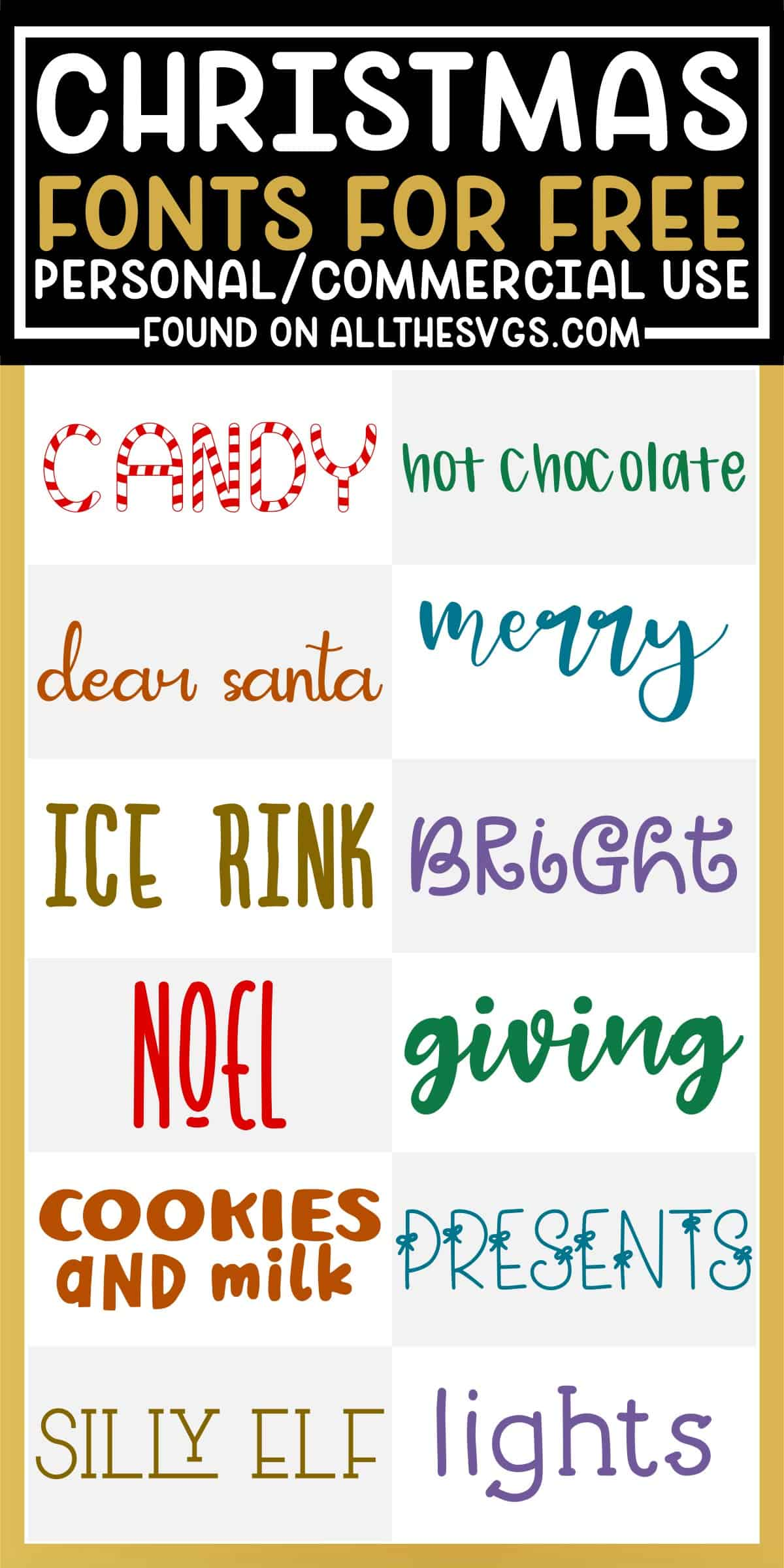 showcase of 12 best free christmas winter fonts for commercial use.