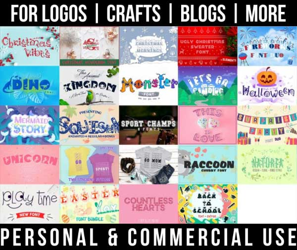 fun craft font bundle with 24 creative fonts for commercial use.