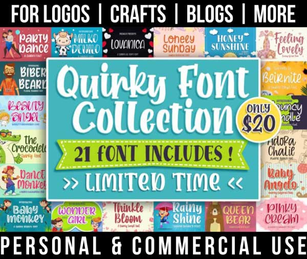 craft font bundle with 21 quirky fonts for commercial use.