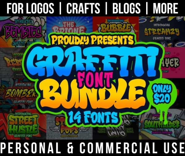 graffiti font bundle with 14 hip hop fonts for commercial use.