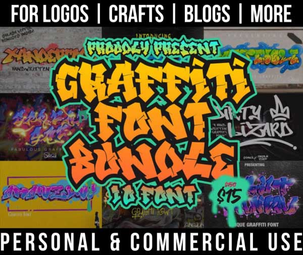 graffiti font bundle with 10 tag fonts for commercial use.