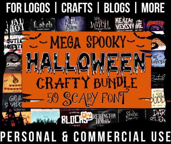 halloween font bundle with 50 spooky, scary fonts for commercial use.