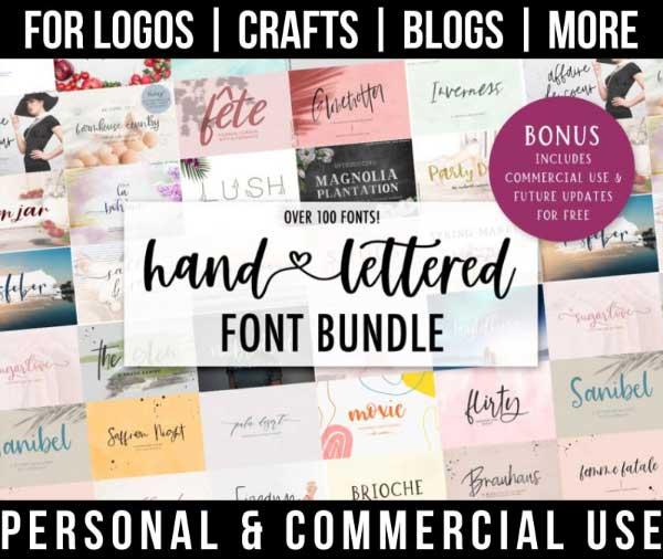 hand lettered font bundle with 100+ fonts for commercial use.