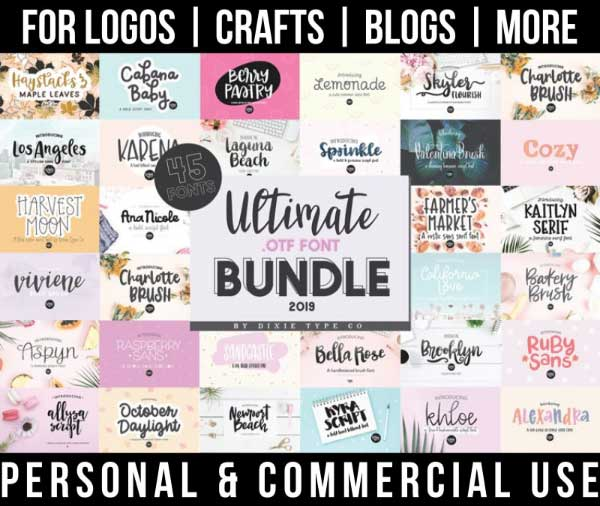 handwriting font bundle with 45 best-selling fonts for commercial use.