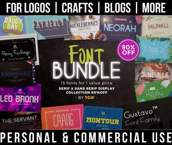 masculine font bundle with 15 serif and sans serif display fonts for commercial use.