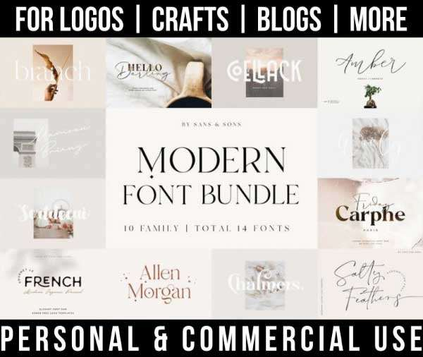modern font bundle with 14 fonts for commercial use.
