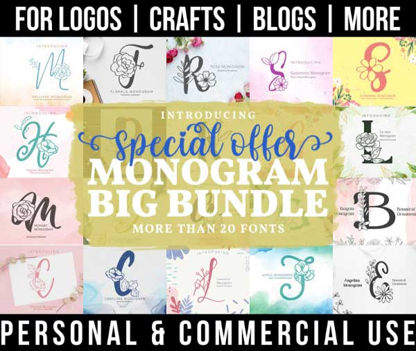 monogram font bundle with 20+ fonts for commercial use.