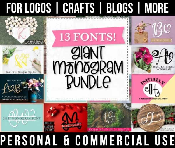 giant monogram font bundle with 13 cute fonts for commercial use.