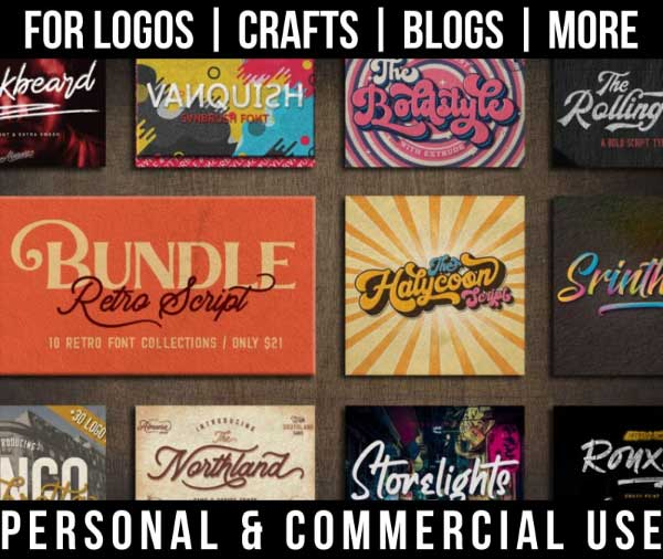 retro script font bundle with 10 fonts for commercial use.
