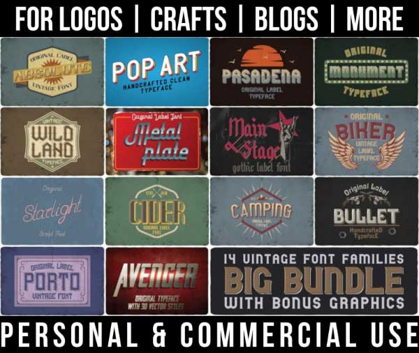 retro font bundle with 14 vintage fonts and bonus graphics for commercial use.