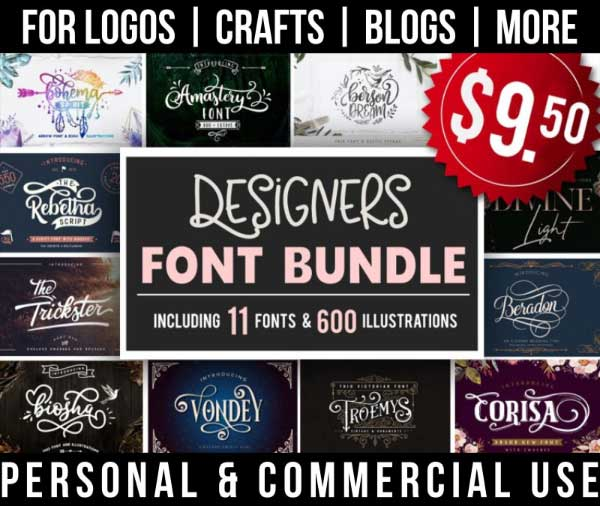beautiful script font bundle with 11 fonts with gorgeous tails, glyphs for commercial use.