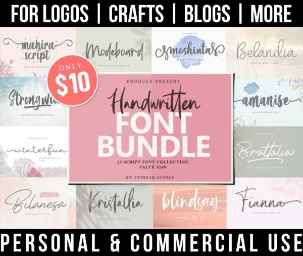 handwritten font bundle with 13 script fonts for commercial use.