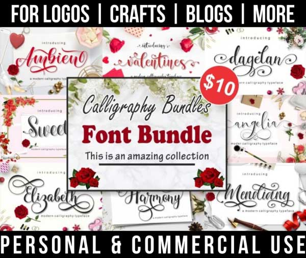 calligraphy font bundle with 8+ fonts with tails and glyphs for commercial use.