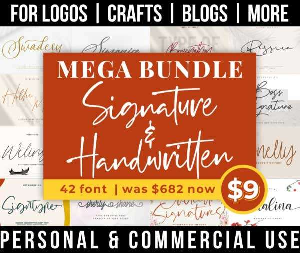 signature font bundle with 42 handwritten fonts for commercial use.