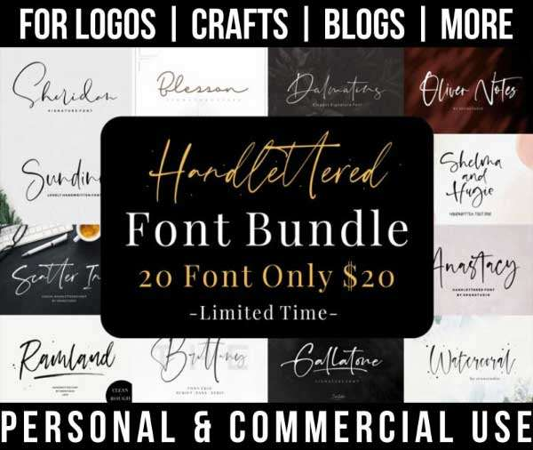 handlettered font bundle with 20 signature fonts for commercial use.