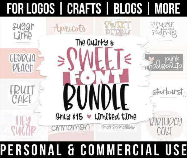 spring font bundle with 12 sweet fonts for commercial use.