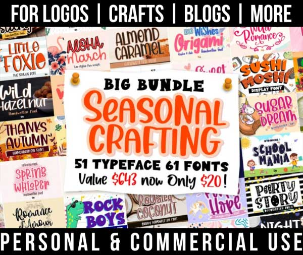 seasonal font bundle with 51 fun, quirky fonts for commercial use.