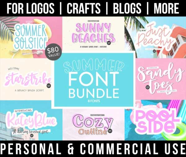 summer font bundle with 8 handwritten fonts for commercial use.