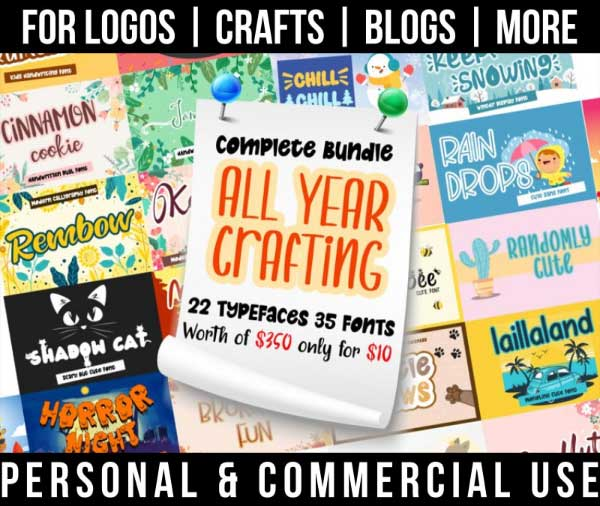 seasonal font bundle with 22 fun, year round fonts for commercial use.