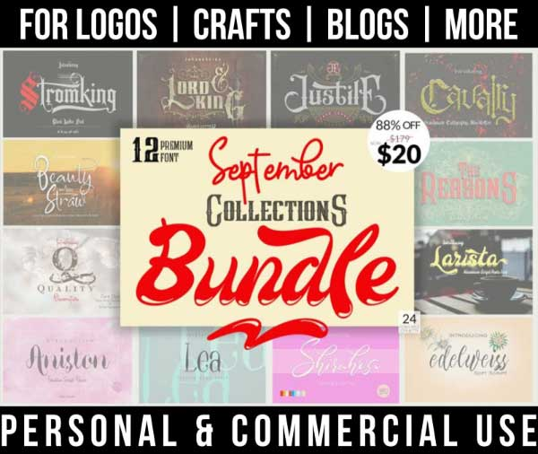 tattoo font bundle with 12 decorative and handwritten fonts for commercial use.