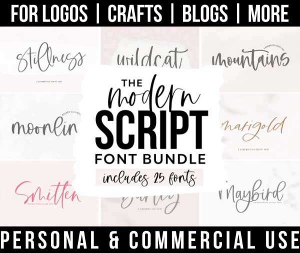script font bundle with 25 modern fonts for commercial use.