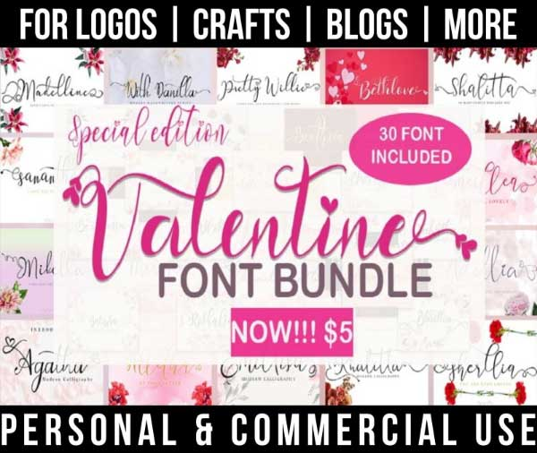 valentine font bundle with 30 romantic fonts for commercial use.