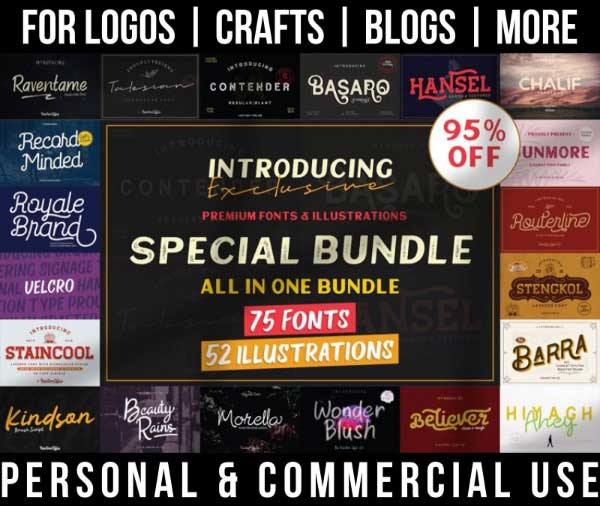 vintage font bundle with 75 hand drawn fonts for commercial use.
