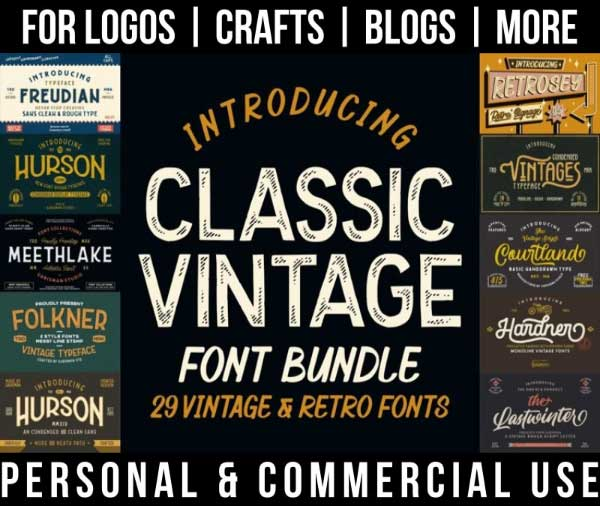 vintage font bundle with 29 classic, retro fonts for commercial use.