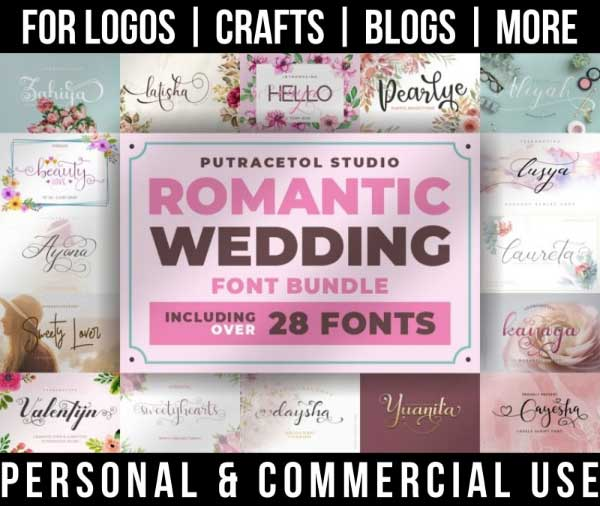 wedding font bundle with 28+ romantic fonts for commercial use.