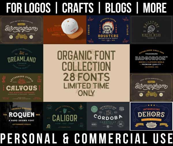 western font bundle with 28 organic fonts for commercial use.
