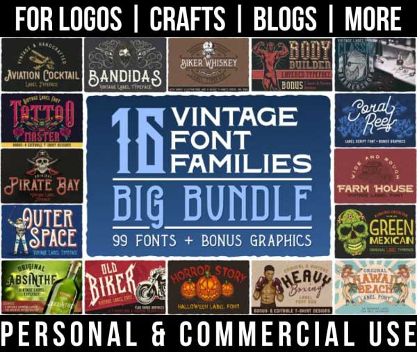 western font bundle with 16 vintage font families for commercial use.